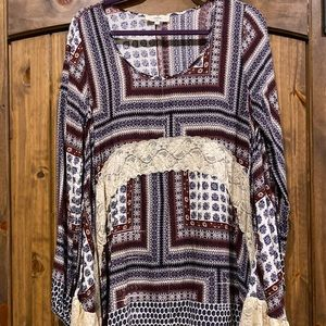 Multi colored paisley print tunic with lace detail
